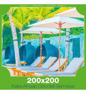 200x200 cm Kare Ahşap Gövdeli Şemsiye