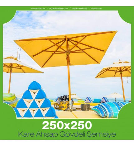 250x250 cm Kare Ahşap Gövdeli Şemsiye