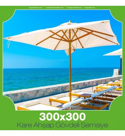300x300 cm Kare Ahşap Gövdeli Şemsiye