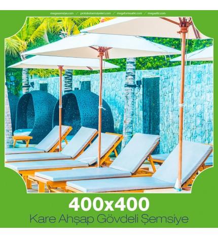 400x400 cm Kare Ahşap Gövdeli Şemsiye