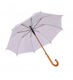 Ahşap Baston Saplı Beyaz Promosyon Şemsiye