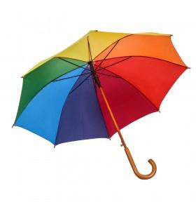 Ahşap Baston Saplı Gökkuşağı 8 Telli Promosyon Şemsiye