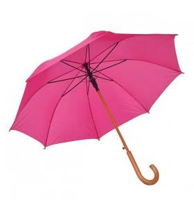 Ahşap Baston Saplı Pembe Promosyon Şemsiye