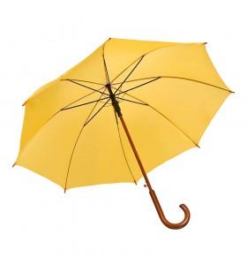 Ahşap Baston Saplı Sarı Promosyon Yağmur Şemsiyesi