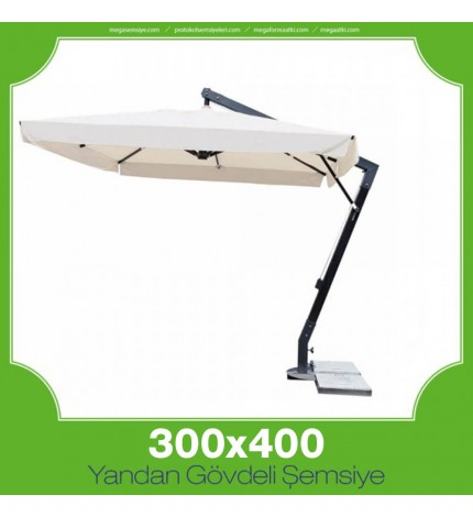 300x400 cm Yandan Gövdeli Kare Şemsiye